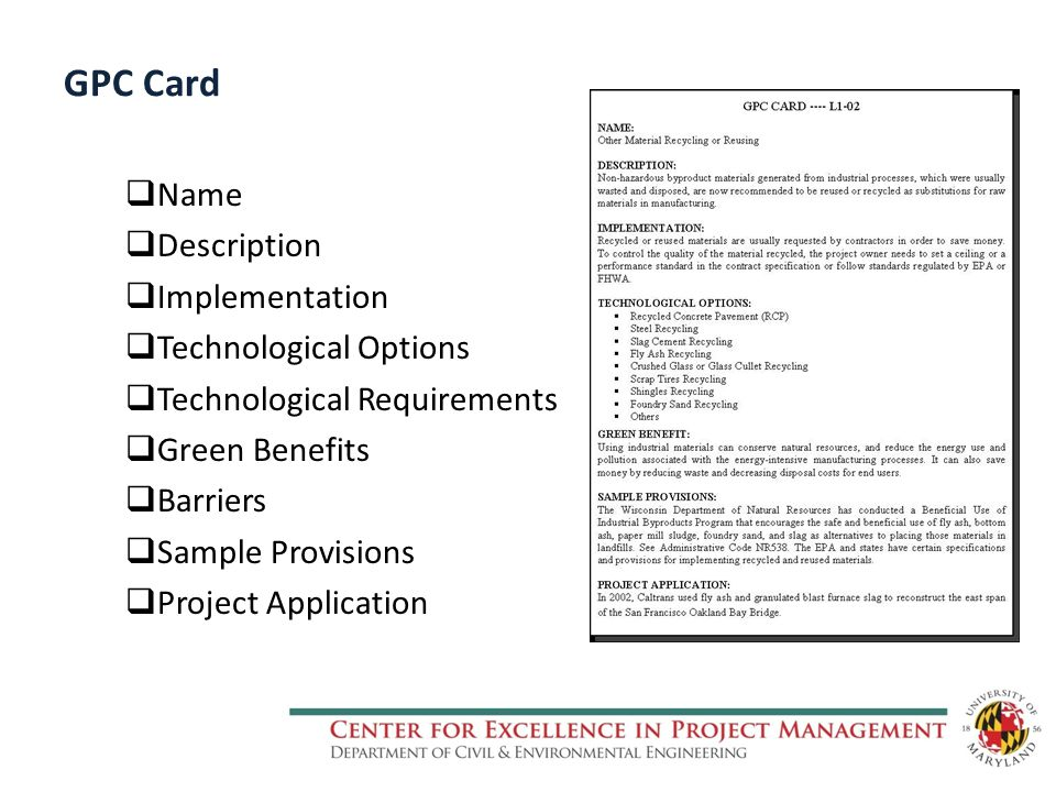 GPC Card  Name  Description  Implementation  Technological Options  Technological Requirements  Green Benefits  Barriers  Sample Provisions  Project Application