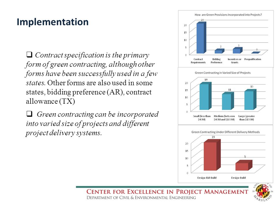 Implementation  Contract specification is the primary form of green contracting, although other forms have been successfully used in a few states.