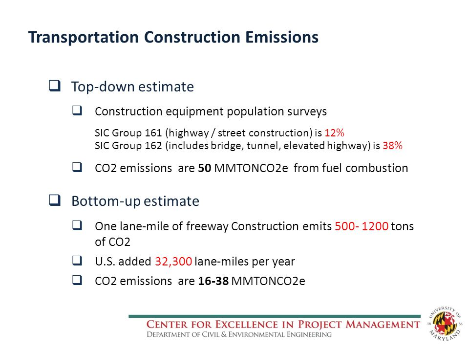 Transportation Construction Emissions  Top-down estimate  Construction equipment population surveys SIC Group 161 (highway / street construction) is 12% SIC Group 162 (includes bridge, tunnel, elevated highway) is 38%  CO2 emissions are 50 MMTONCO2e from fuel combustion  Bottom-up estimate  One lane-mile of freeway Construction emits 500- 1200 tons of CO2  U.S.