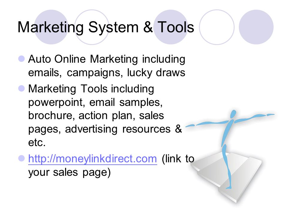 Marketing System & Tools Auto Online Marketing including emails, campaigns, lucky draws Marketing Tools including powerpoint, email samples, brochure, action plan, sales pages, advertising resources & etc.
