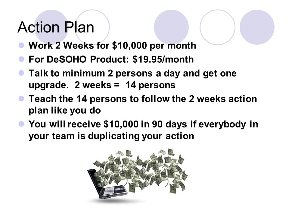 Action Plan Work 2 Weeks for $10,000 per month For DeSOHO Product: $19.95/month Talk to minimum 2 persons a day and get one upgrade.