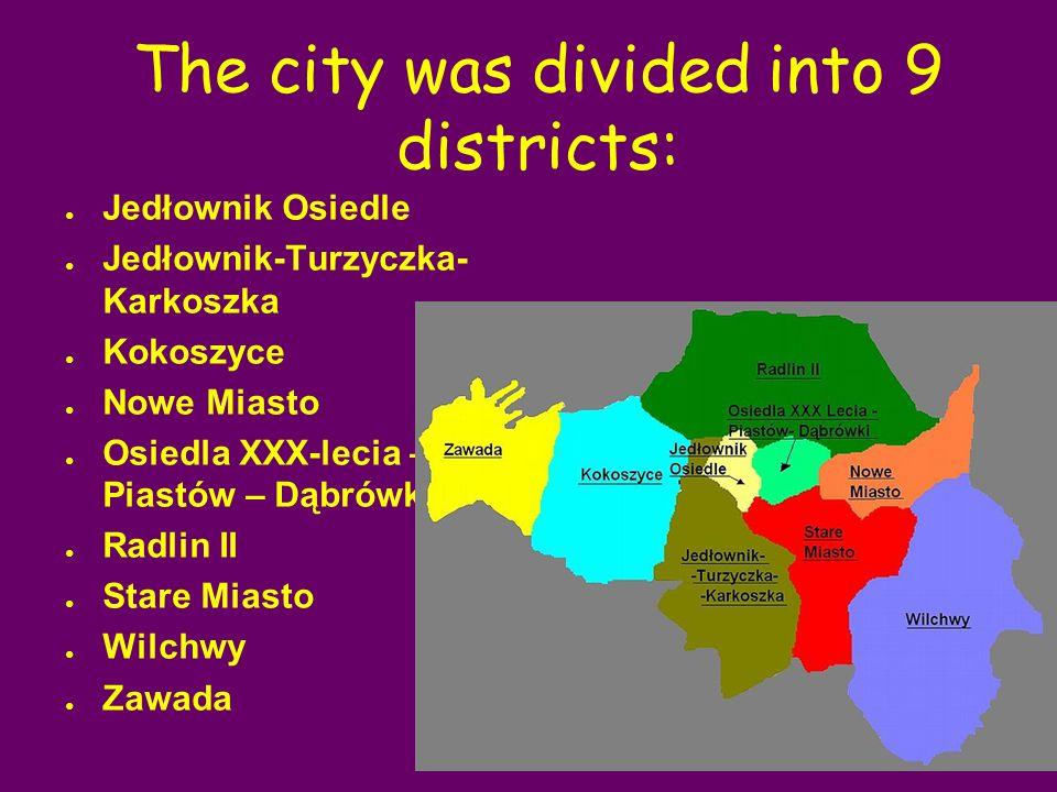 The city was divided into 9 districts: ● Jedłownik Osiedle ● Jedłownik-Turzyczka- Karkoszka ● Kokoszyce ● Nowe Miasto ● Osiedla XXX-lecia – Piastów – Dąbrówki ● Radlin II ● Stare Miasto ● Wilchwy ● Zawada