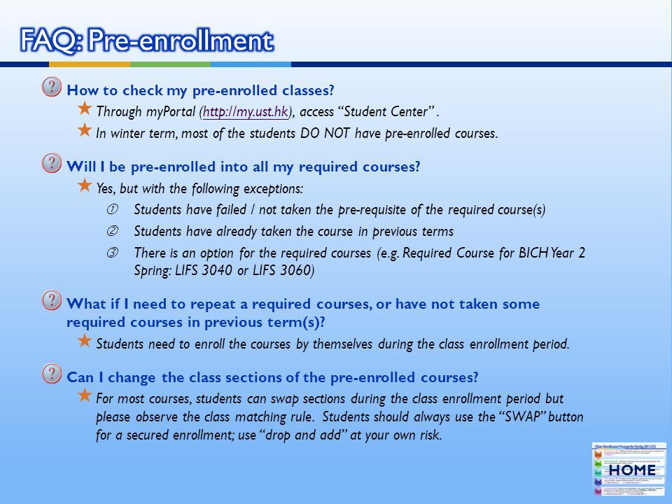 How to check my pre-enrolled classes.