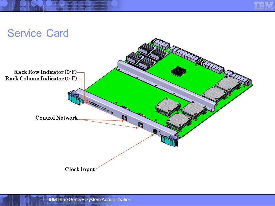 IBM Blue Gene/P System Administration Service Card Control Network Clock Input Rack Row Indicator (0-F) Rack Column Indicator (0-F)