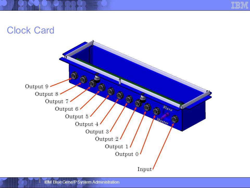 IBM Blue Gene/P System Administration Clock Card Output 9 Master Output 8 Output 7 Output 6 Output 5 Output 4 Output 3 Output 2 Output 1 Output 0 Input Slave