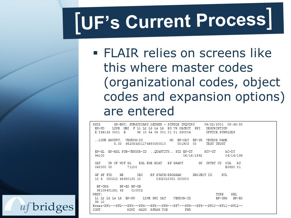 [ UF's Current Process ]  FLAIR relies on screens like this where master codes (organizational codes, object codes and expansion options) are entered 6SI2 6S-ENC.