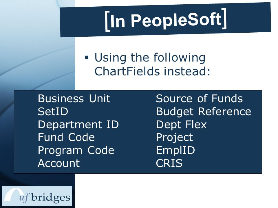 [ In PeopleSoft ]  Using the following ChartFields instead: Business Unit SetID Department ID Fund Code Program Code Account Source of Funds Budget Reference Dept Flex Project EmplID CRIS