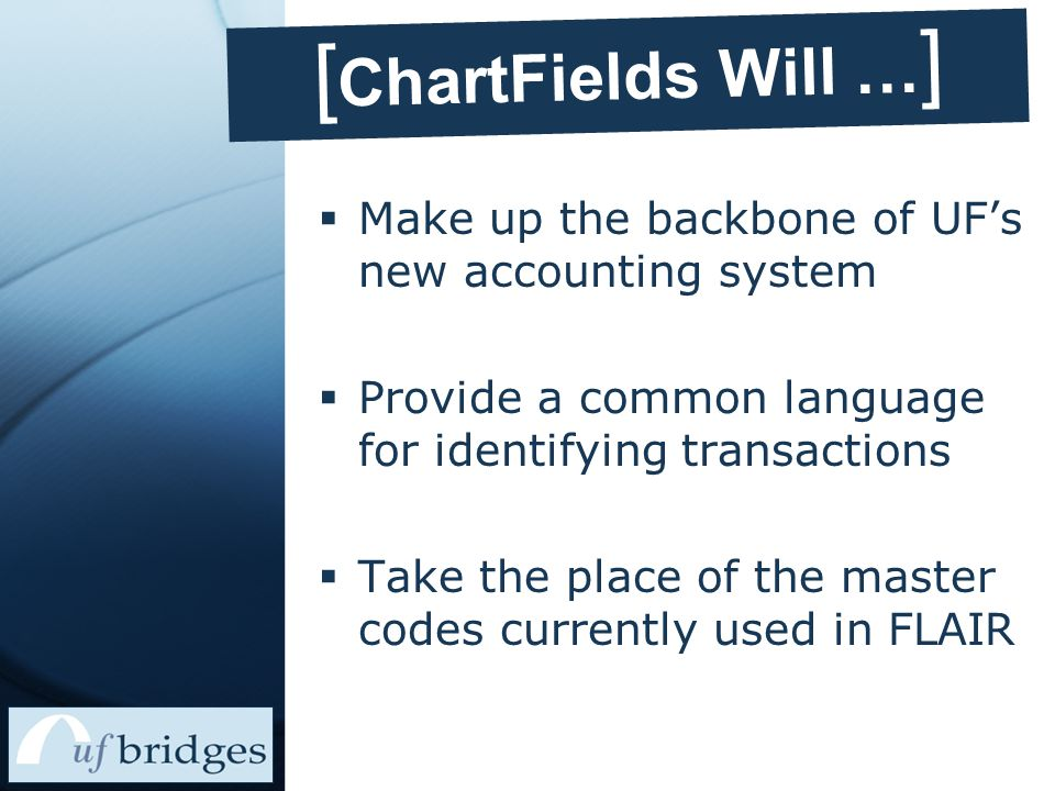 [In PeopleSoft] ChartField Name First Two Digits Program Code Four Digit Code Select from the list provided in PeopleSoft Follows expense classifications provided by NACUBO National Association of College and University Business Officers Represent the program as reported externally99