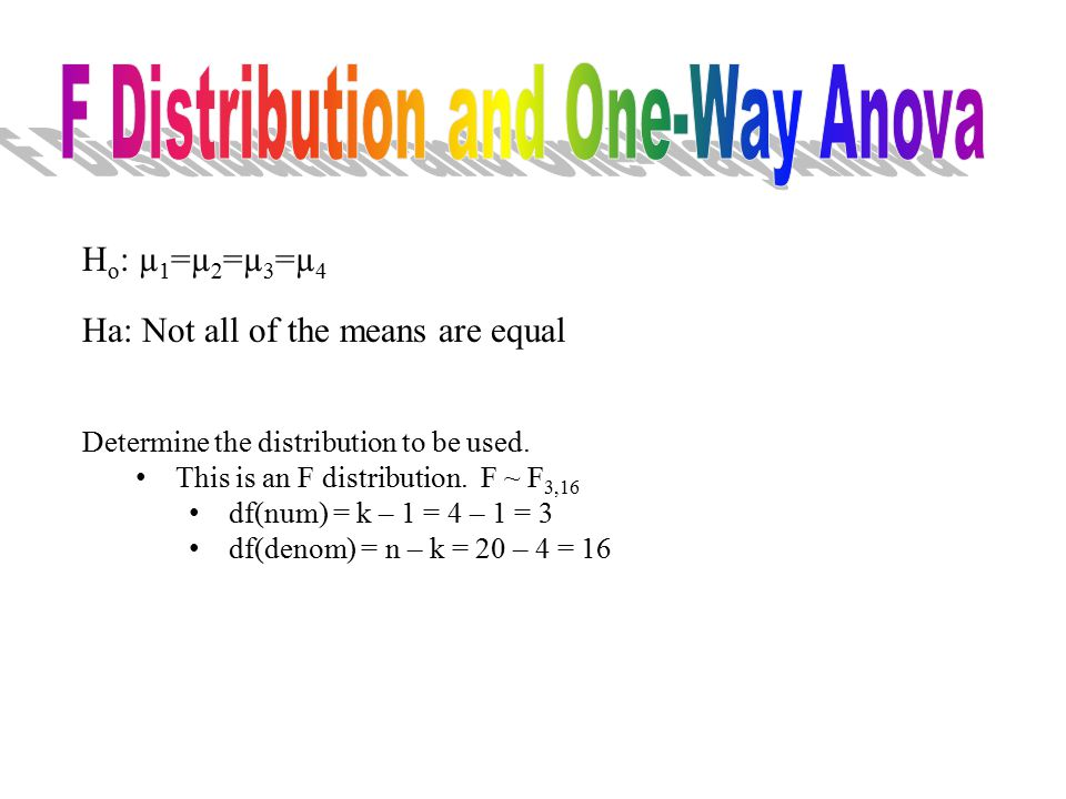 H o : µ 1 =µ 2 =µ 3 =µ 4 Ha: Not all of the means are equal Determine the distribution to be used. This is an F distribution. F ~ F 3,16 df(num) = k –