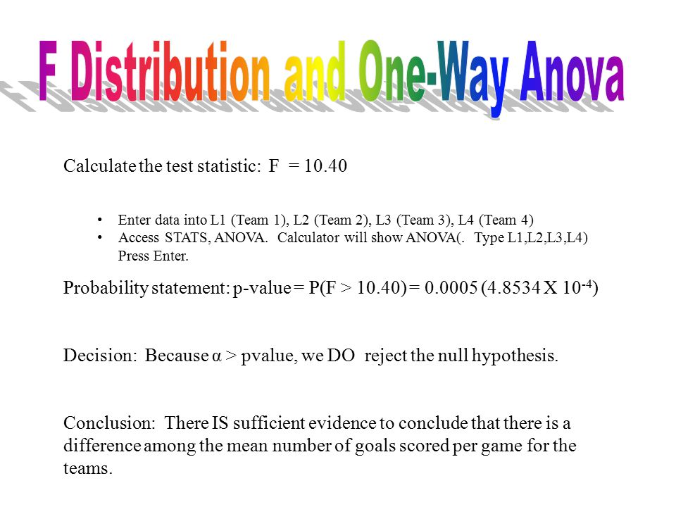 Calculate the test statistic: F = 10.40 Enter data into L1 (Team 1), L2 (Team 2), L3 (Team 3), L4 (Team 4) Access STATS, ANOVA.