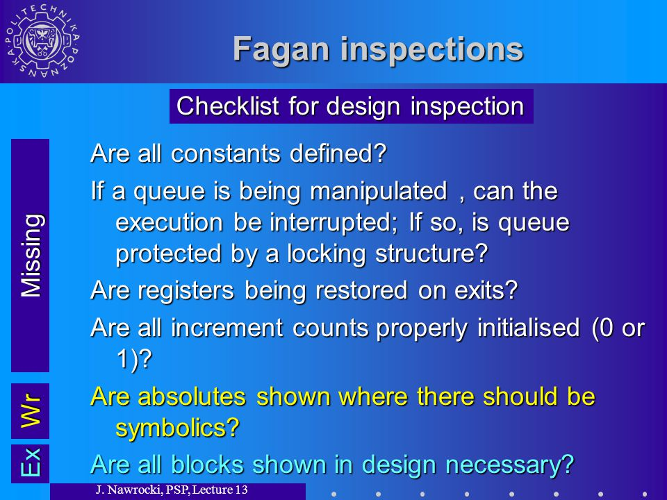 J. Nawrocki, PSP, Lecture 13 Fagan inspections Are all constants defined.