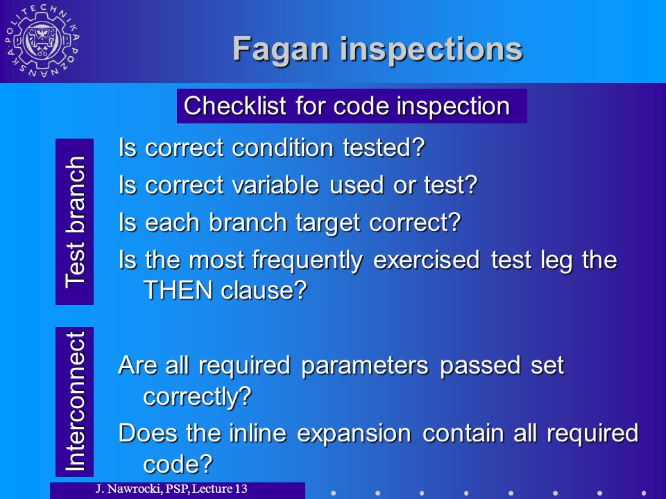 J. Nawrocki, PSP, Lecture 13 Fagan inspections Is correct condition tested.