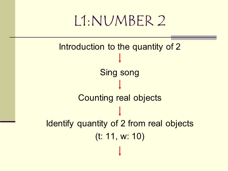 L1:NUMBER 2 Introduction to the quantity of 2 Sing song Counting real objects Identify quantity of 2 from real objects (t: 11, w: 10)