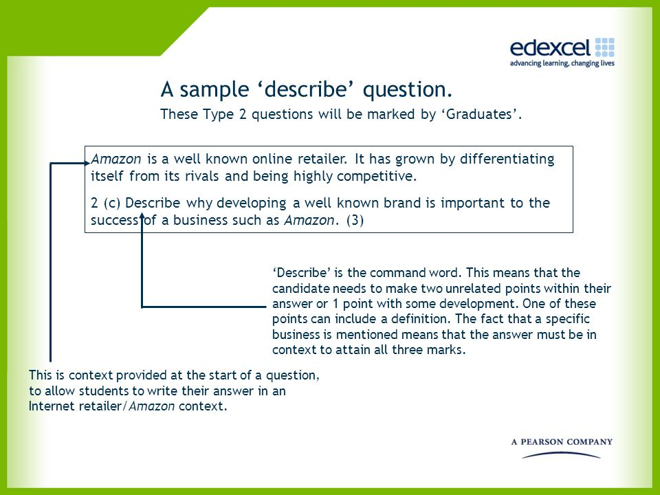 A sample 'describe' question.. These Type 2 questions will be marked by 'Graduates'. Amazon is a well known online retailer. It has grown by different