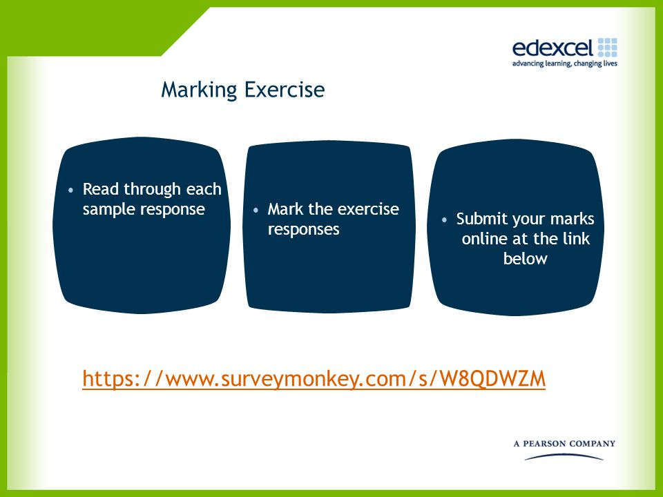Marking Exercise Read through each sample response Mark the exercise responses Submit your marks online at the link below https://www.surveymonkey.com
