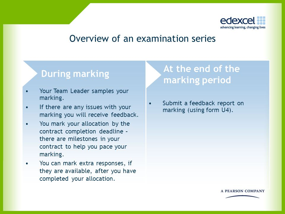 Overview of an examination series During marking At the end of the marking period Submit a feedback report on marking (using form U4). Your Team Leade