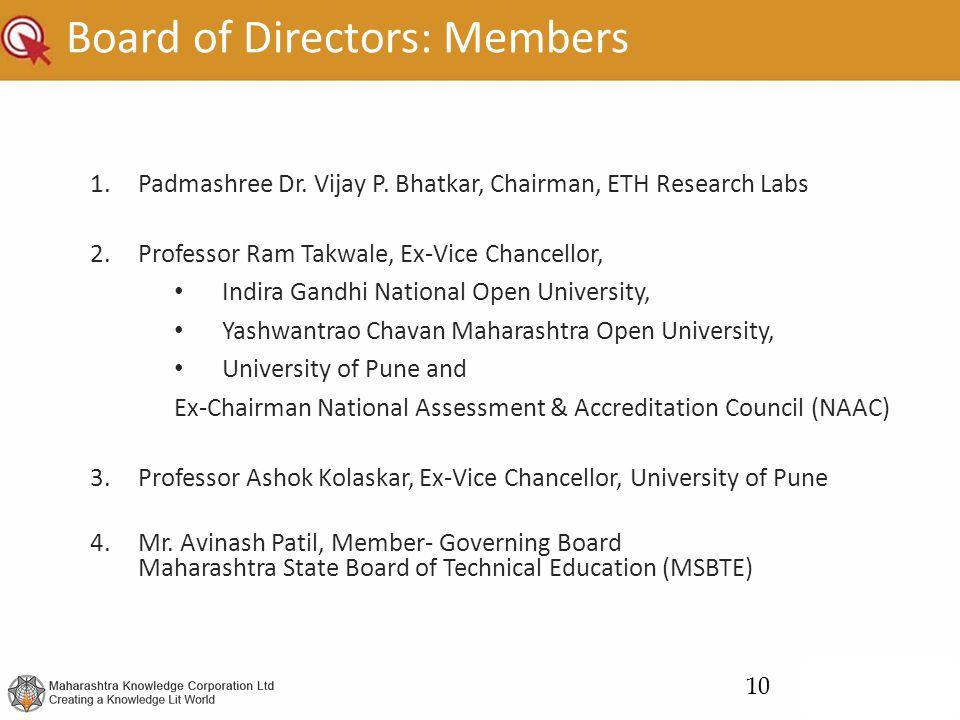 Board of Directors: Members 1.Padmashree Dr. Vijay P. Bhatkar, Chairman, ETH Research Labs 2.Professor Ram Takwale, Ex-Vice Chancellor, Indira Gandhi