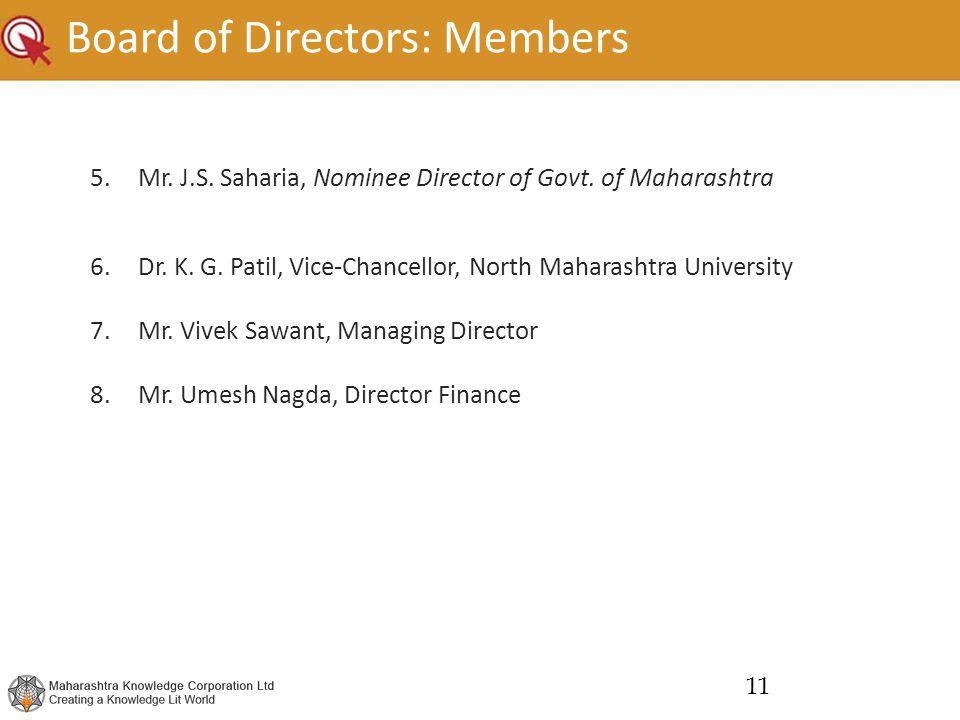 Board of Directors: Members 5.Mr. J.S. Saharia, Nominee Director of Govt. of Maharashtra 6.Dr. K. G. Patil, Vice-Chancellor, North Maharashtra Univers