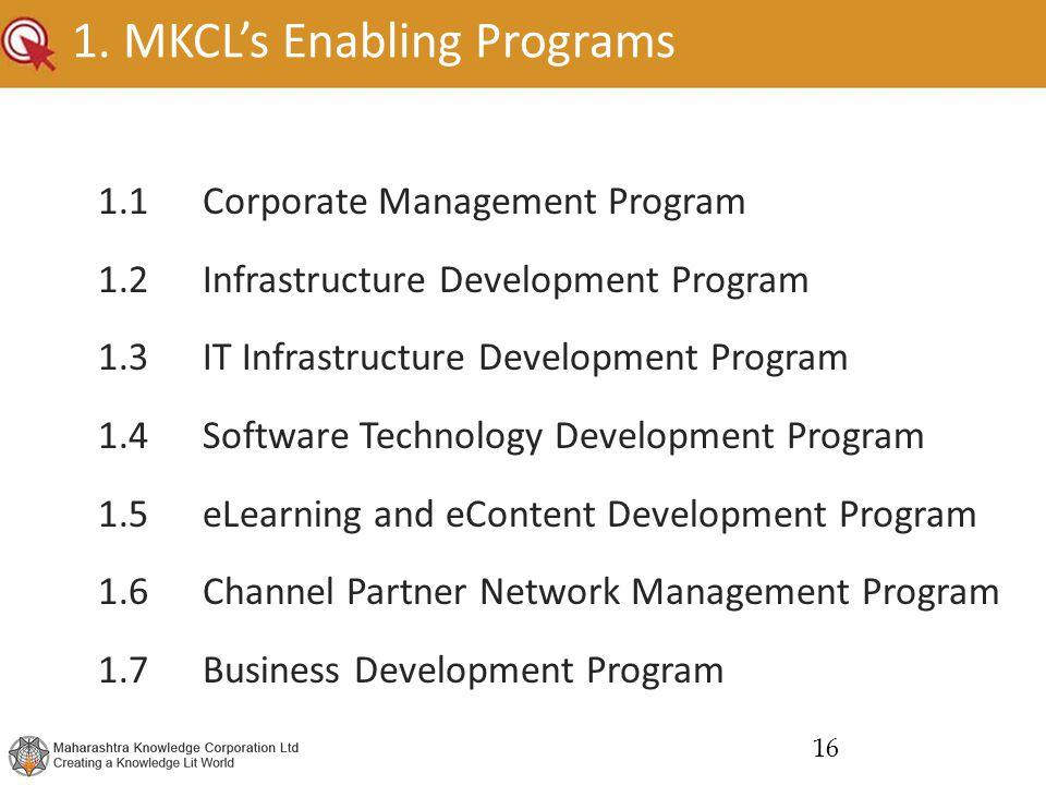 1. MKCL's Enabling Programs 1.1Corporate Management Program 1.2Infrastructure Development Program 1.3IT Infrastructure Development Program 1.4Software