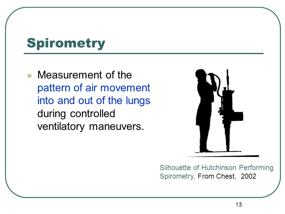 13 Spirometry Measurement of the pattern of air movement into and out of the lungs during controlled ventilatory maneuvers. Silhouette of Hutchinson P