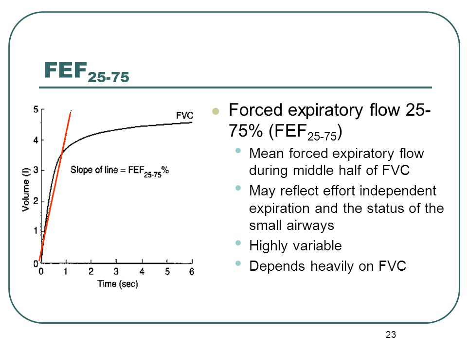 23 Forced expiratory flow 25- 75% (FEF 25-75 ) Mean forced expiratory flow during middle half of FVC May reflect effort independent expiration and the