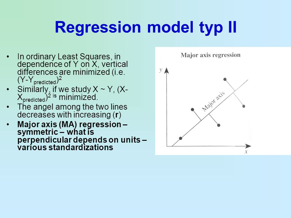 Regression model typ II In ordinary Least Squares, in dependence of Y on X, vertical differences are minimized (i.e. (Y-Y predicted ) 2 Similarly, if