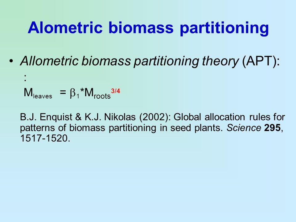 Alometric biomass partitioning Allometric biomass partitioning theory (APT): : M leaves =  1 *M roots 3/4 B.J. Enquist & K.J. Nikolas (2002): Global