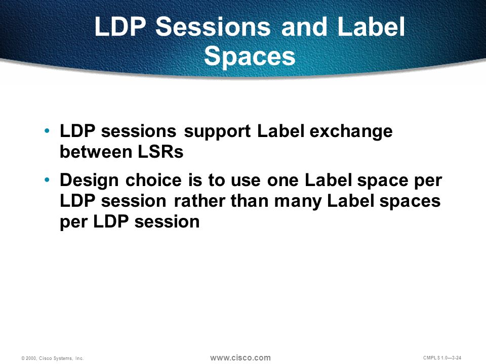 © 2000, Cisco Systems, Inc. www.cisco.com CMPLS 1.0—3-24 LDP Sessions and Label Spaces LDP sessions support Label exchange between LSRs Design choice
