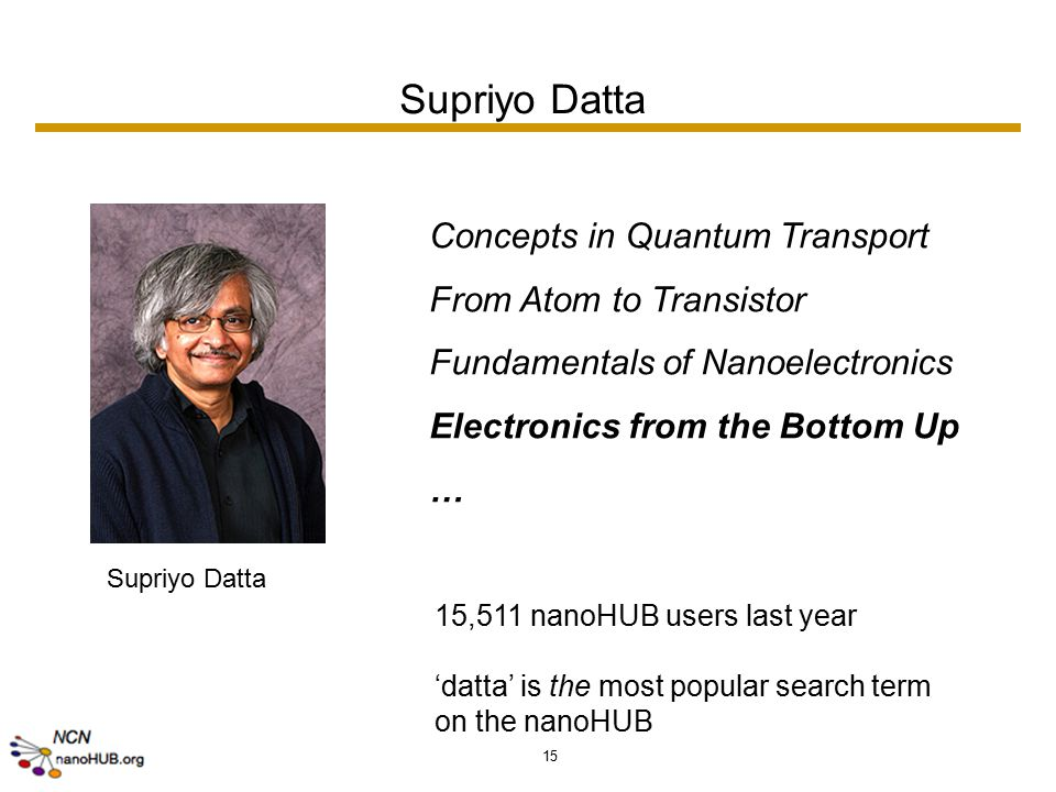 15 Supriyo Datta Concepts in Quantum Transport From Atom to Transistor Fundamentals of Nanoelectronics Electronics from the Bottom Up … 15,511 nanoHUB users last year 'datta' is the most popular search term on the nanoHUB