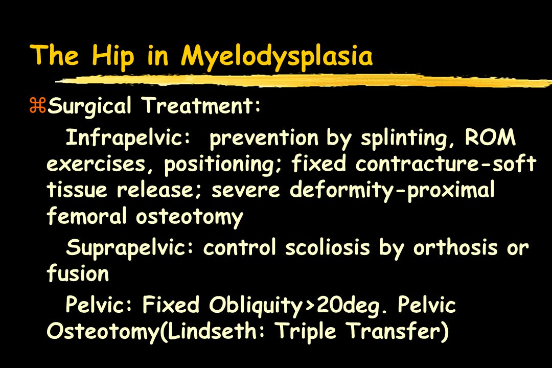 The Hip in Myelodysplasia zSurgical Treatment: Infrapelvic: prevention by splinting, ROM exercises, positioning; fixed contracture-soft tissue release; severe deformity-proximal femoral osteotomy Suprapelvic: control scoliosis by orthosis or fusion Pelvic: Fixed Obliquity>20deg.