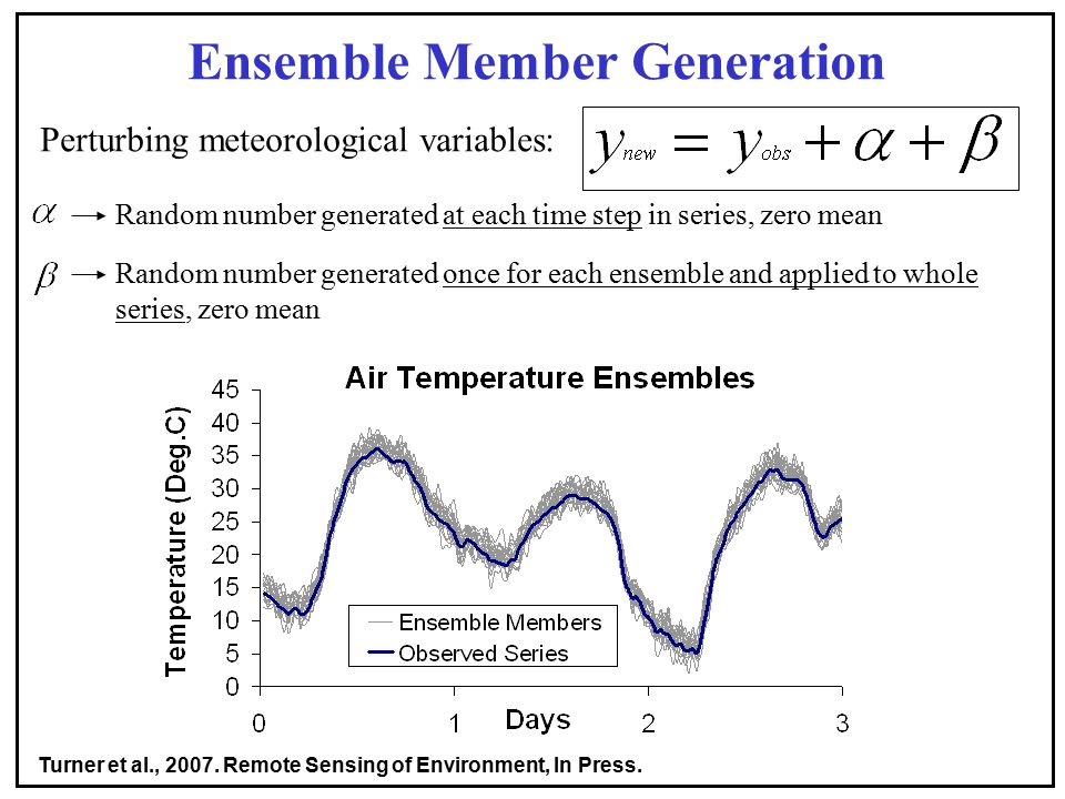 Ensemble Member Generation Perturbing meteorological variables: Random number generated at each time step in series, zero mean Random number generated once for each ensemble and applied to whole series, zero mean Turner et al., 2007.