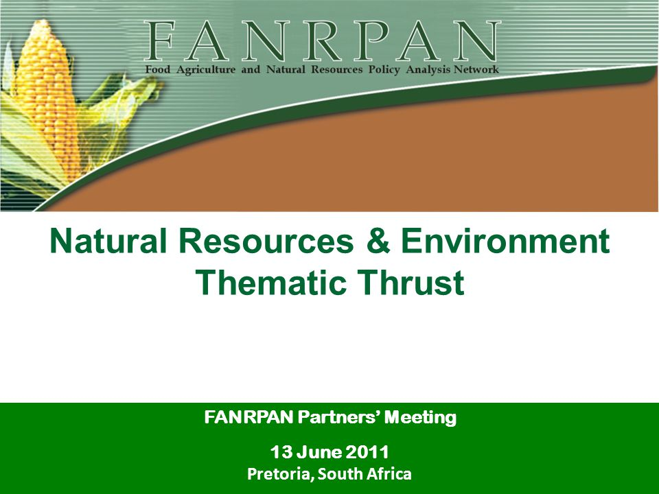 Natural Resources & Environment Thematic Thrust FANRPAN Partners' Meeting 13 June 2011 Pretoria, South Africa