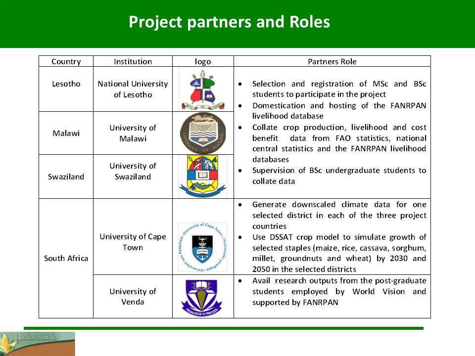 Project partners and Roles