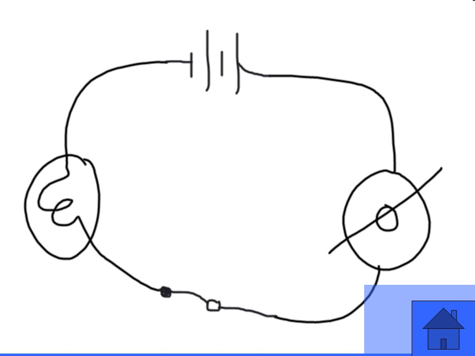Draw a schematic of an closed series circuit with one light and one fan. Make your power source be a compound battery in series.