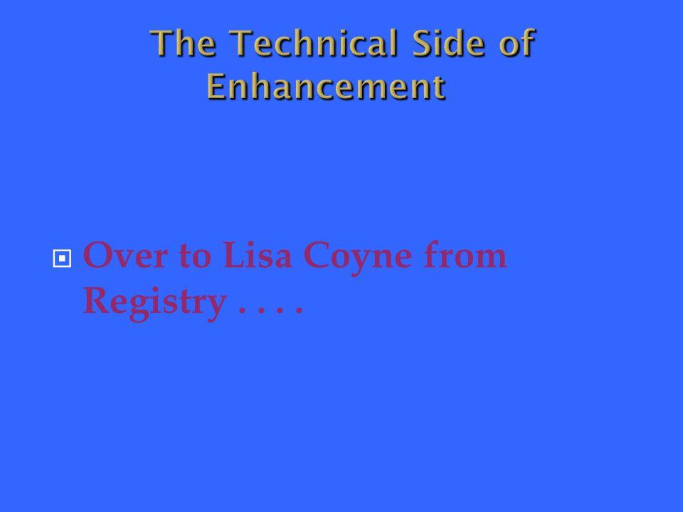  Over to Lisa Coyne from Registry....