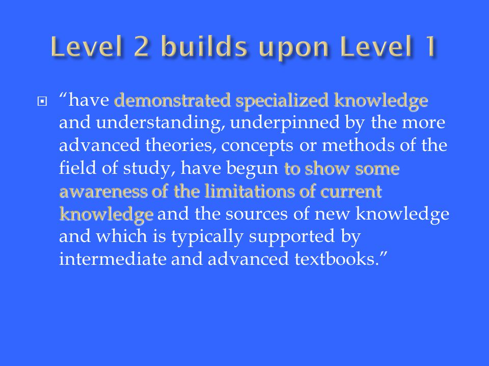 have demonstrated specialised, detailed or advanced knowledge clear awareness of the limitations of current knowledge includes aspects that will be informed by knowledge at the forefront of the field of study  have demonstrated specialised, detailed or advanced knowledge and understanding, underpinned by advanced theories, concepts or methods, which includes a clear awareness of the limitations of current knowledge and the sources of new knowledge, which is supported by advanced text books but includes aspects that will be informed by knowledge at the forefront of the field of study.