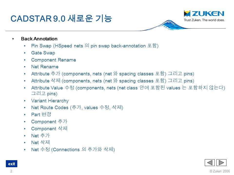 © Zuken 2006 exit 23 GUI General Defaults 각각의 항목에 커서를 올려놓기만 하면 설명이 나타난다. CADSTAR 9.0 새로운 기능