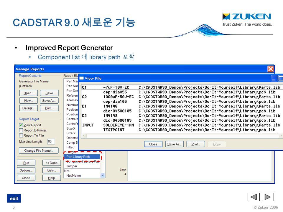 © Zuken 2006 exit 16 오른쪽 마우스를 눌러 나타나는 메뉴 Component 를 선택했을 때 Hyperlink 활성화 ( 최대 5 개의 Link 까지 사용가능 ) CADSTAR 9.0 새로운 기능