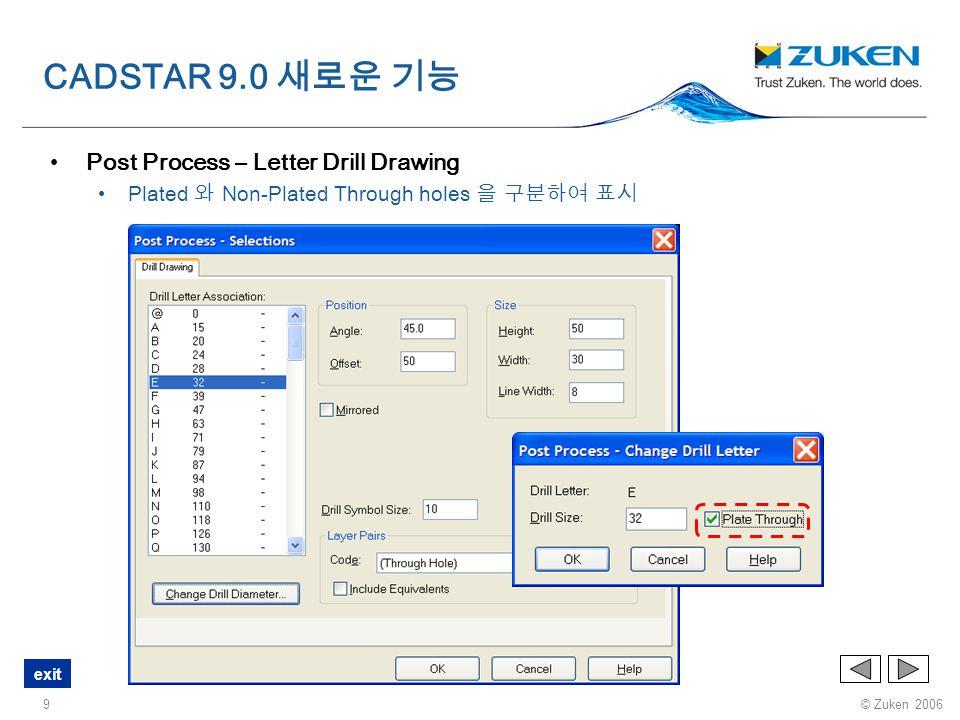 © Zuken 2006 exit 10 Post Process 출력파일에 사용자가 원하는 확장자 지정 (.spl 대신 ) CADSTAR 9.0 새로운 기능
