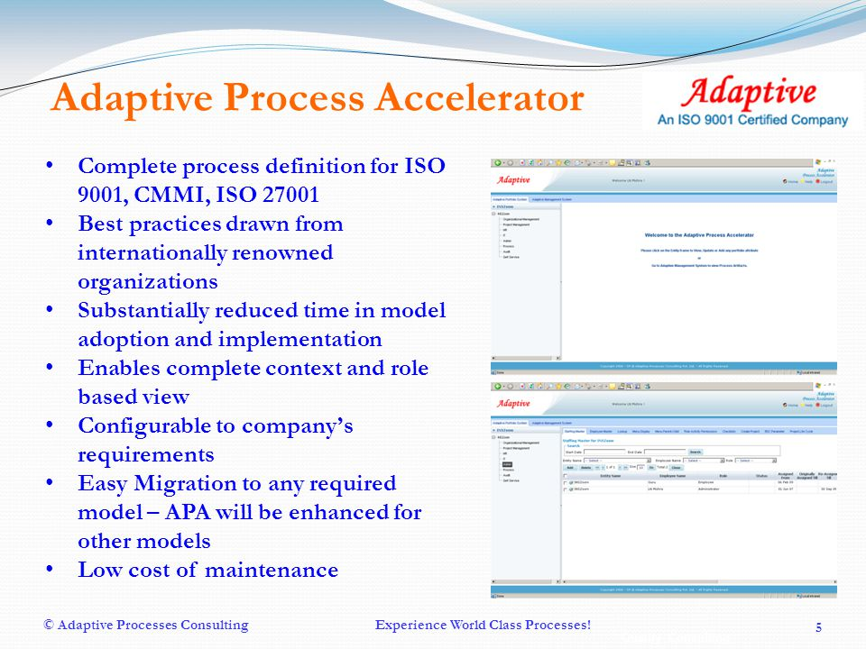Quality Consulting © Adaptive Processes ConsultingExperience World Class Processes.
