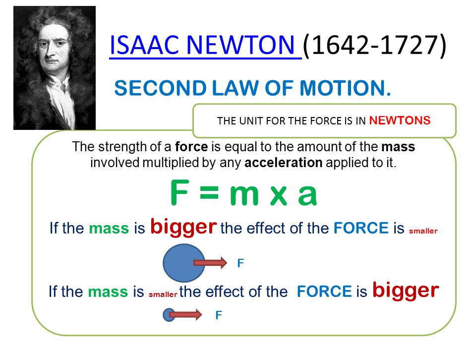 ISAAC NEWTON ISAAC NEWTON (1642-1727) SECOND LAW OF MOTION. The strength of a force is equal to the amount of the mass involved multiplied by any acce