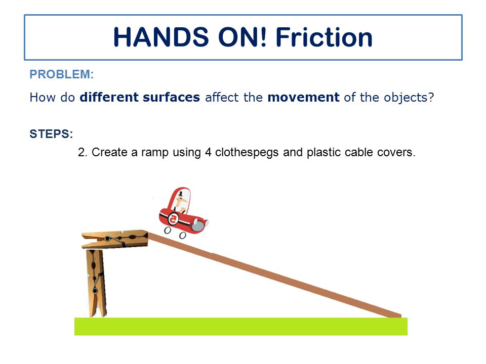HANDS ON! Friction PROBLEM: How do different surfaces affect the movement of the objects? STEPS: 2. Create a ramp using 4 clothespegs and plastic cabl