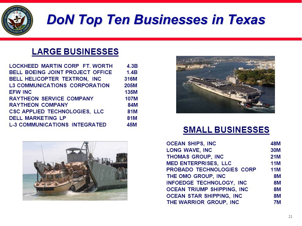 DoN Top Ten Businesses in Texas LARGE BUSINESSES LOCKHEED MARTIN CORP FT.