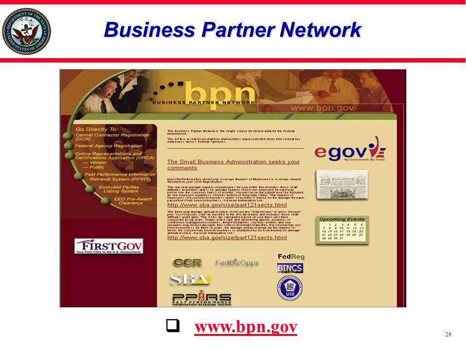 Business Partner Network  www.bpn.gov 29