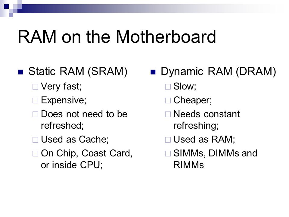 RAM on the Motherboard Static RAM (SRAM)  Very fast;  Expensive;  Does not need to be refreshed;  Used as Cache;  On Chip, Coast Card, or inside CPU; Dynamic RAM (DRAM)  Slow;  Cheaper;  Needs constant refreshing;  Used as RAM;  SIMMs, DIMMs and RIMMs
