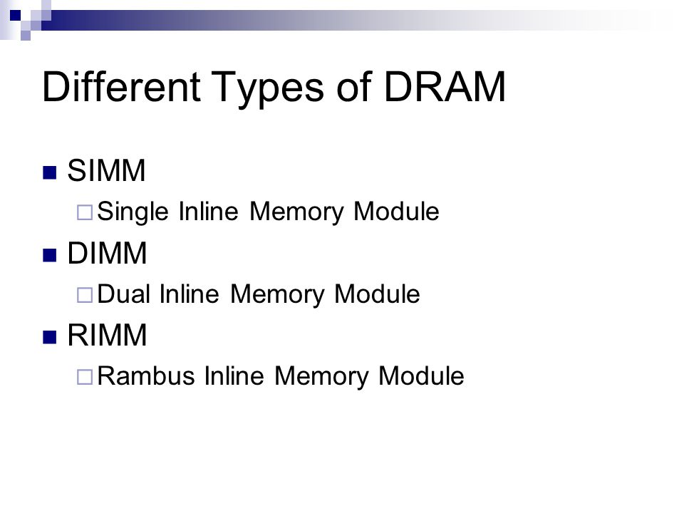 Different Types of DRAM SIMM  Single Inline Memory Module DIMM  Dual Inline Memory Module RIMM  Rambus Inline Memory Module