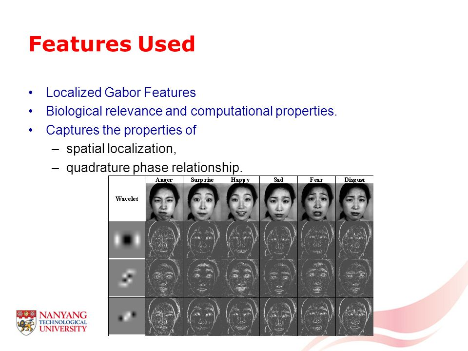 Features Used Localized Gabor Features Biological relevance and computational properties.