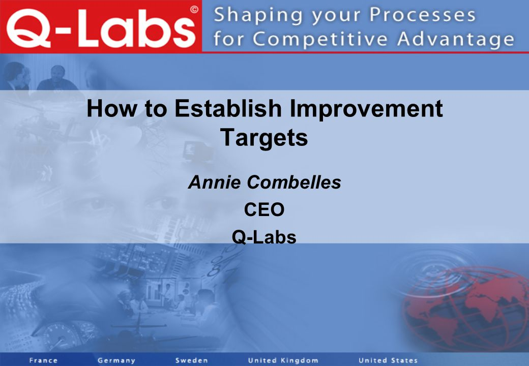 How to Establish Improvement Targets Annie Combelles CEO Q-Labs