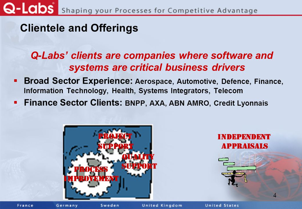 4 Clientele and Offerings Q-Labs' clients are companies where software and systems are critical business drivers  Broad Sector Experience: Aerospace, Automotive, Defence, Finance, Information Technology, Health, Systems Integrators, Telecom  Finance Sector Clients: BNPP, AXA, ABN AMRO, Credit Lyonnais Process Improvement Quality Support Project Support Independent Appraisals