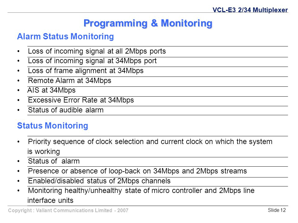 Copyright : Valiant Communications Limited - 2007Slide 12 Programming & Monitoring Alarm Status Monitoring Loss of incoming signal at all 2Mbps ports